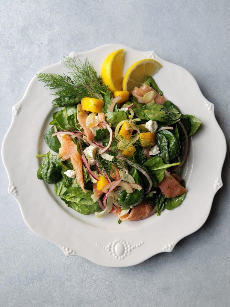 Smoked Salmon Spinach Salad with Mango Avocado and Lemon Dijon Vinaigrette | giveitsomethyme.com