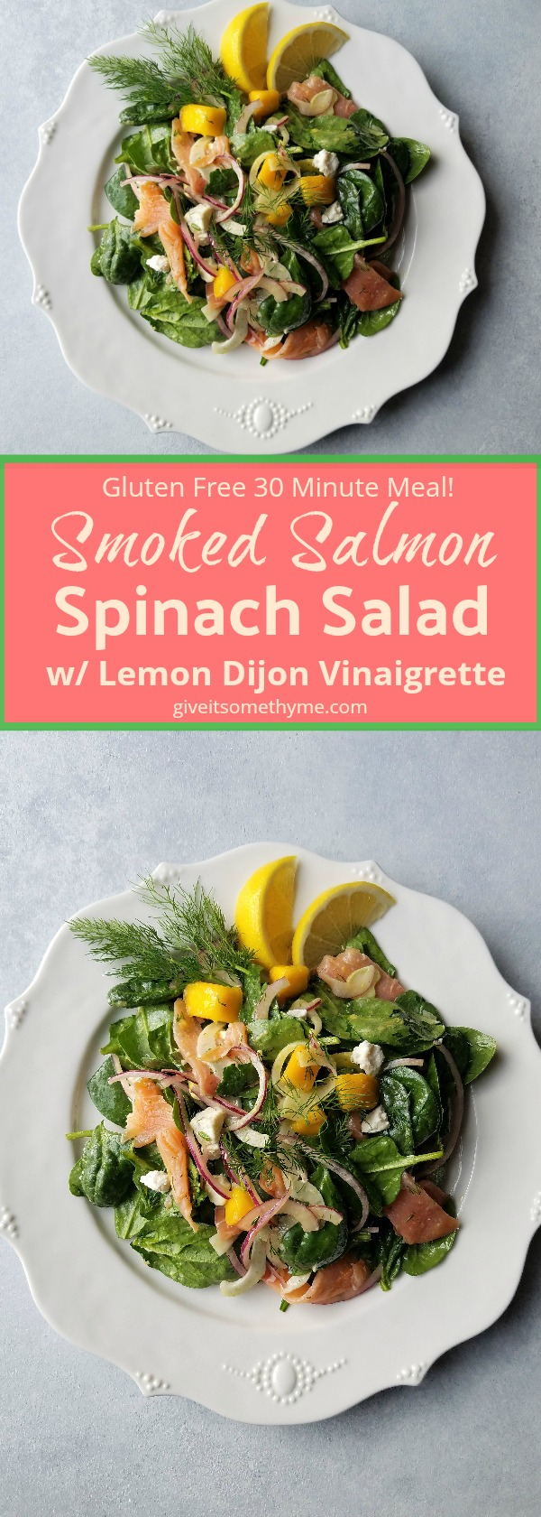 Smoked Salmon Spinach Salad w/ Lemon Dijon Vinaigrette - Give it Some Thyme