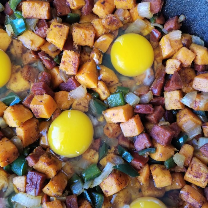 Sweet Potato Hash with Eggs Cracked in Ready to Bake