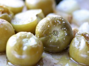 Close Up of Roasted Tomatillos and Veggies out of Oven