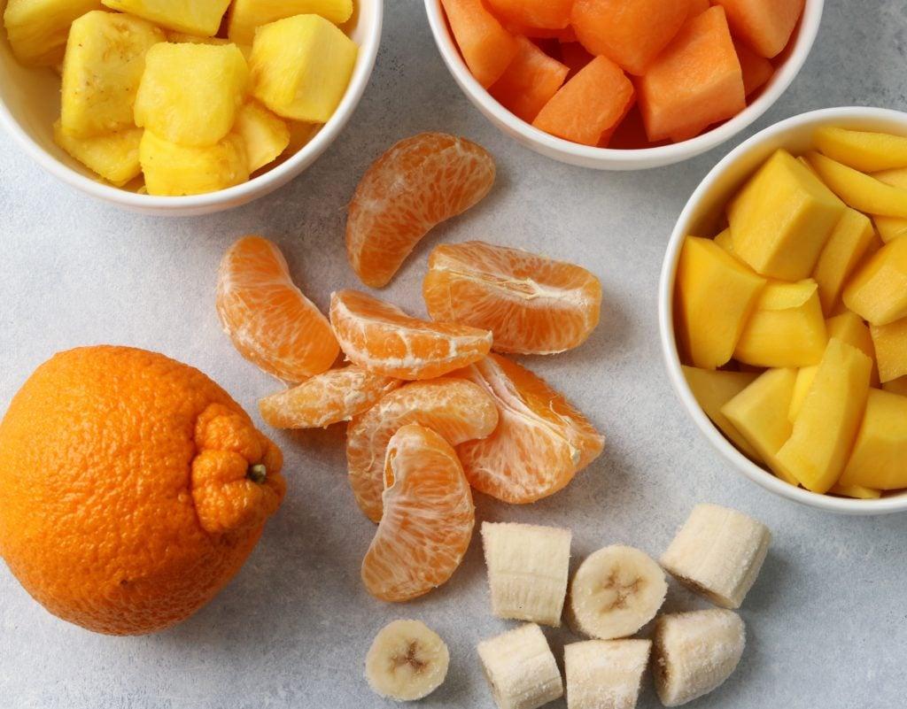 Sumo Citrus Smoothie Ingredients - Sumo orange, mango, banana, pineapple and cantaloupe