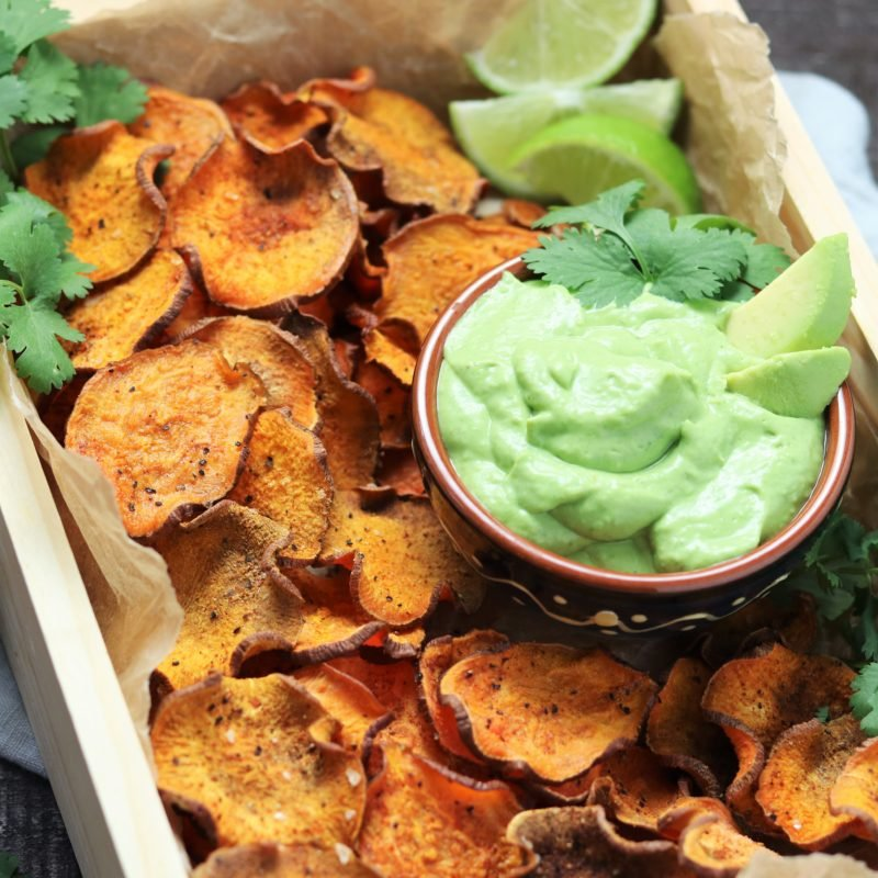 Baked Sweet Potato Chips with Avocado Lime Dip - giveitsomethyme.com