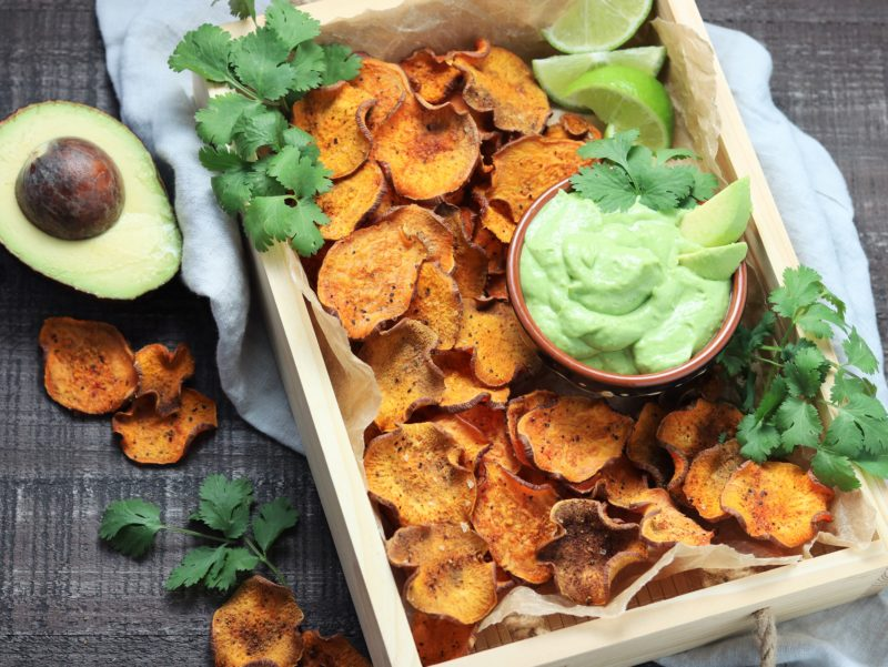 Baked Sweet Potato Chips with Avocado Lime Dip - giveitsomethyme.com #sweetpotato #sweetpotatochips #sweetpotatorecipes #bakedsweetpotato