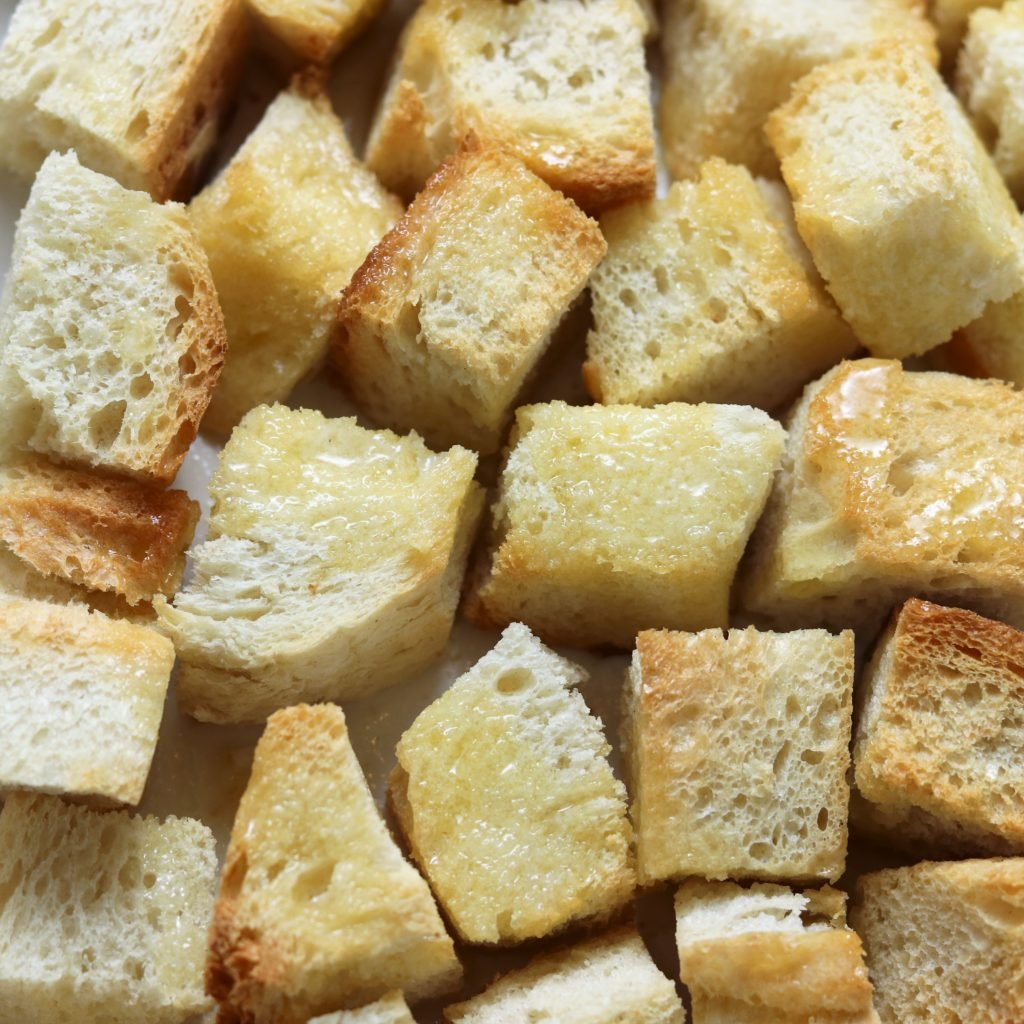 Bread Cubes Coated in Melted Butter for Brunch Casserole