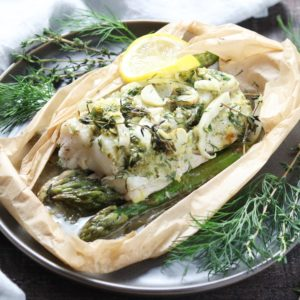 Cod Asparagus and Fennel Packets   giveitsomethyme.com