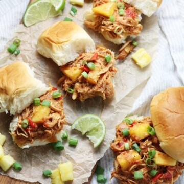 Slow Cooker Hawaiian Chicken Sloppy Joes   giveitsomethyme.com - Tender shredded chicken and pineapple bathe in a sweet and tangy Hawaiian-inspired sauce. Perfect for game days and busy weeknights! #hawaiianchicken #hawaiianchickenrecipes #hawaiianchickencrockpot #hawaiianchickenslowcooker #hawaiianchickeneasy #sloppyjoes #sloppyjoesrecipe #slowcookerrecipe #crockpotrecipe #slowcookerchicken #slowcookerchickenrecipes #crockpotchicken #crockpotchickenrecipes #healthyfalldinners #gamedayrecipe