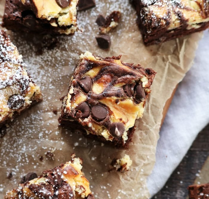 Nutty Irishman Cheesecake Swirled Brownies Close Up- giveitsomethyme.com