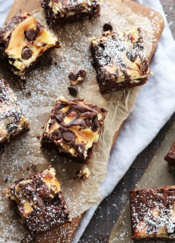 Nutty Irishman Cheesecake Swirled Brownies | giveitsomethyme.com #cheesecakebrownies #brownies #cheesecakebrowniesfromscratch #nuttyirishman #nuttyirishmandessert #giveitsomethyme
