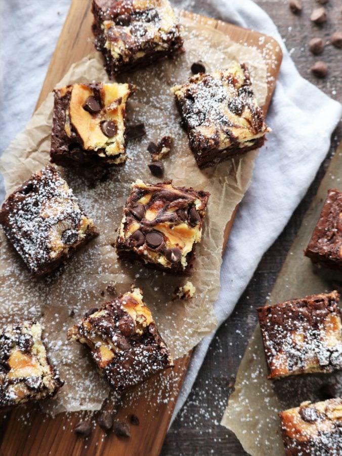 Nutty Irishman Cheesecake Swirled Brownies | giveitsomethyme.com #cheesecakebrownies #brownies #cheesecakebrowniesfrom scratch #nuttyirishman #nuttyirishmandessert