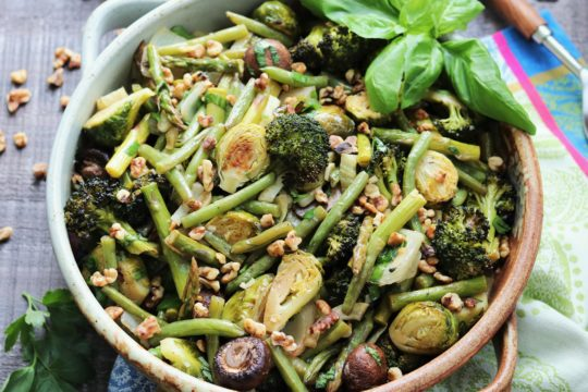 Balsamic Roasted Green Vegetables   Give it Some Thyme - a delicious and healthy side dish of roasted broccoli, brussel sprouts and green beans! #sidedish #sidedishrecipe #healthyfallrecipes #healthysidedish #glutenfreesidedish #balsamicroastedvegetables #balsamicroastedgreenvegetables #giveitsomethyme