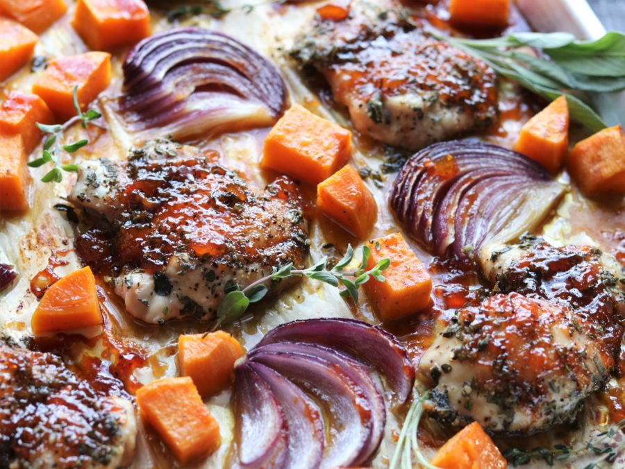 Sheet Pan Herb and Peach Glazed Chicken | Give it Some Thyme - such a delicious blend of fresh herbs and peach jam over tender chicken thighs and vegetables! #sheetpanrecipe #quickandeasydinners #weeknightdinners #sheetpandinner #sheetpanchicken #sheetpanchickendinner #glutenfreedinners #giveitsomethyme