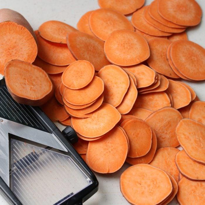 Sweet Potatoes Sliced with mandoline