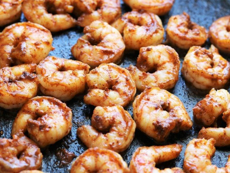 shrimp seared in cast iron skillet