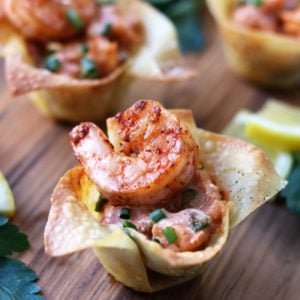 Yum Yum Shrimp Wonton Cups Close Up