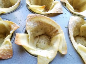 Wonton Shells Baked in Mini Muffin Pan