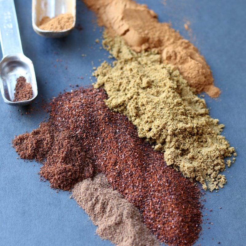 Mole Sauce Spices - chili powder, cumin, cinnamon, allspice and cloves.