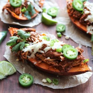 Slow Cooker Chicken Mole Stuffed Sweet Potatoes - giveitsomethyme.com