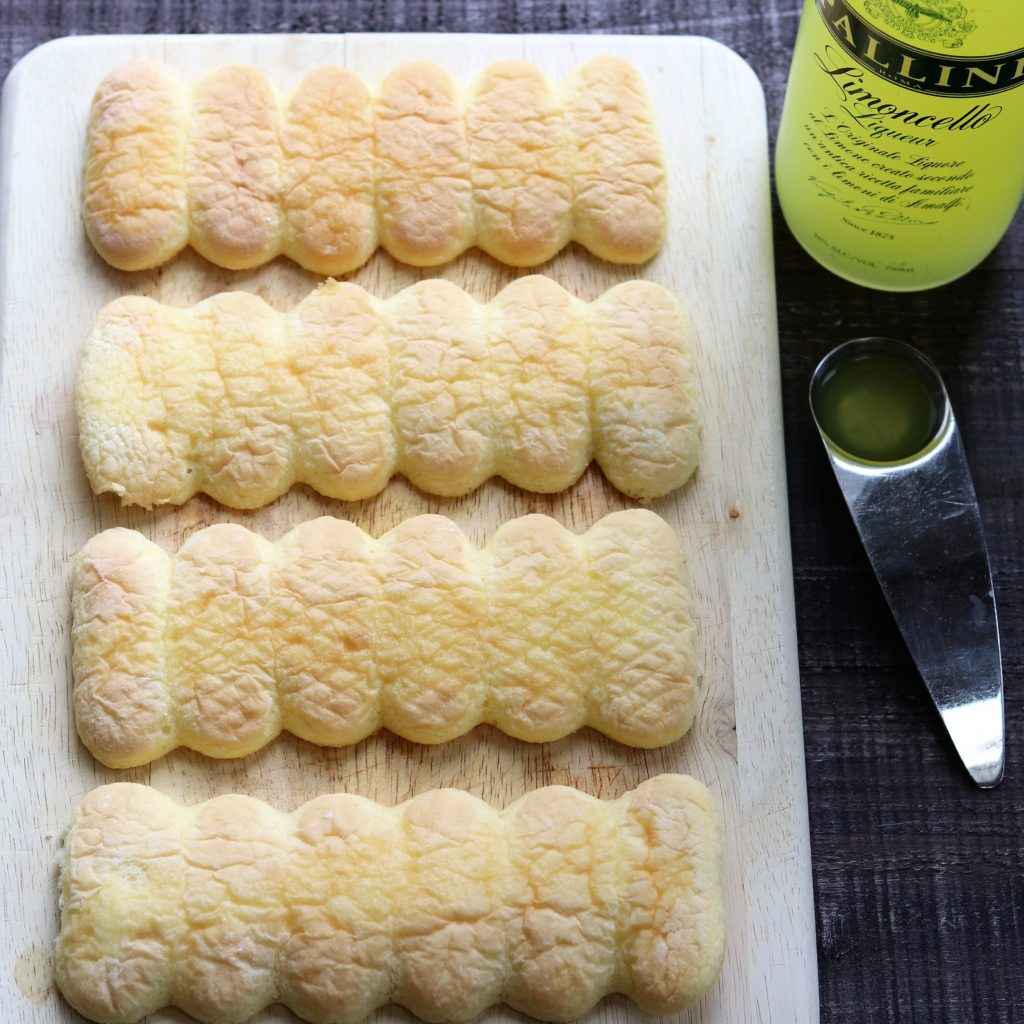 Ladyfingers drizzled with Limoncello for Trifles