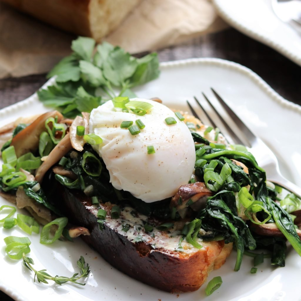 Poached Egg Garlicky Mushroom and Spinach over Brioche - Give it Some Thyme