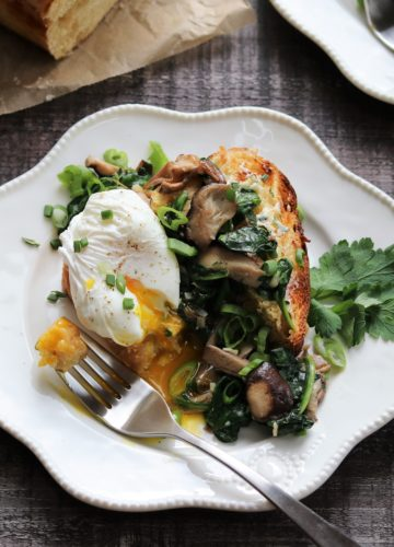 Poached Eggs Garlicky Mushrooms and Spinach over Brioche - giveitsomethyme.com