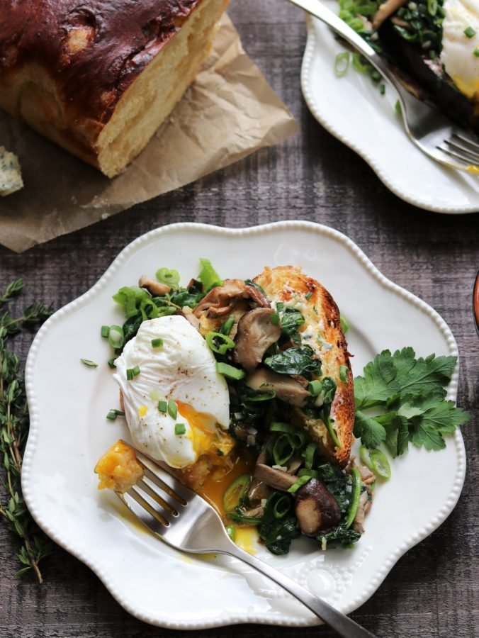 Poached Eggs Garlicky Mushrooms and Spinach over Brioche | giveitsomethyme.com