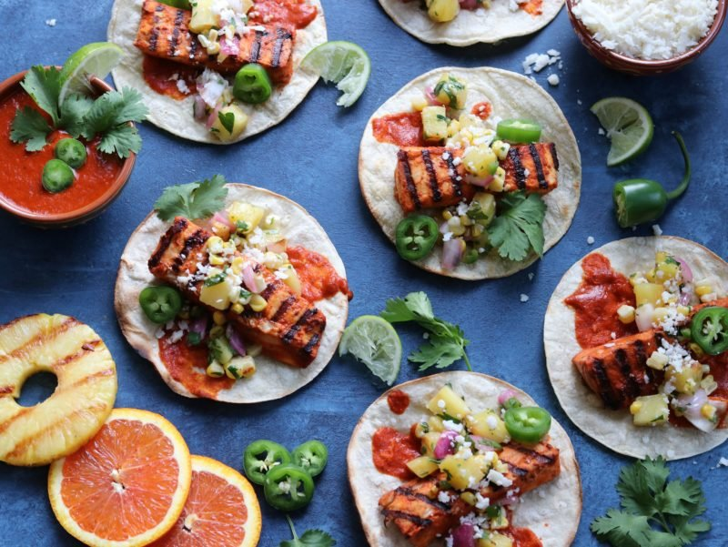 Fish Tacos Al Pastor with Grilled Pineapple Salsa | giveitsomethyme.com