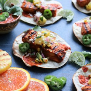 Fish Tacos Al Pastor w/ Grilled Pineapple Salsa | giveitsomethyme.com