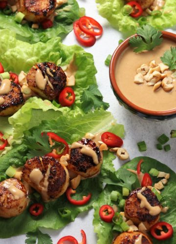 Seared Scallop Lettuce Wraps w/ Cashew Butter Sauce – tender scallops dusted with sweet and smoky spices perfectly seared and nestled in crisp lettuce & drizzled with a silky, Asian-inspired sauce. Done in 30-minutes! #searedscallops #searedscallopshealthy #searedscallopscastiron #lettucewraps #lettucewrapshealthy #asianlettucewraps #healthydinners #skilletrecipes #quickandeasydinners #giveitsomethyme | giveitsomethyme.com