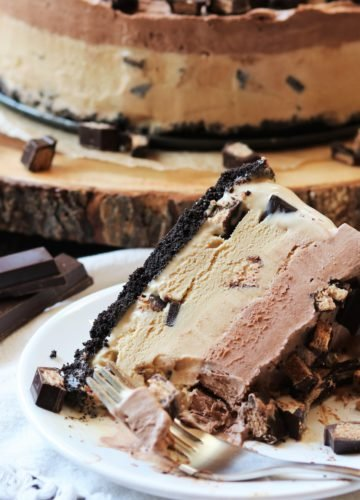 Mocha KitKat Ice Cream Cake | giveitsomethye.com - a decadent blend of coffee and chocolate ice cream studded with dark chocolate Kit Kat pieces all atop a chocolate cookie crumb crust! #chocolatedessert #chocolatedessertrecipe #dessertrecipe #icecreamcake #chocolateicecreamcake #frozendessert #makeaheaddessert #kitkatbars #kitkat #coffeeicecream #mocha