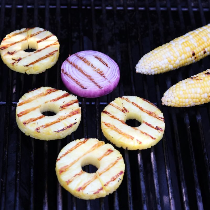 Pineapple, red onion and corn grilling.