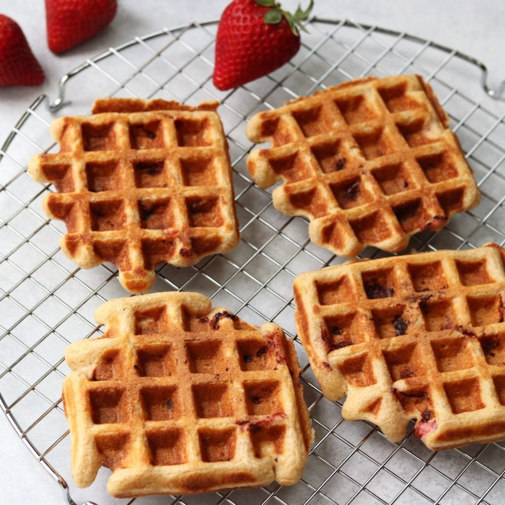 Strawberry Waffles on Cooling Rack