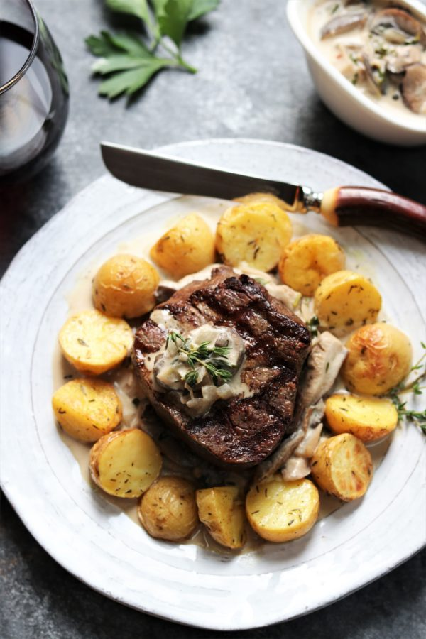 Grilled Filet Mignon with Mushroom Sherry Dijon Sauce | giveitsomethyme.com