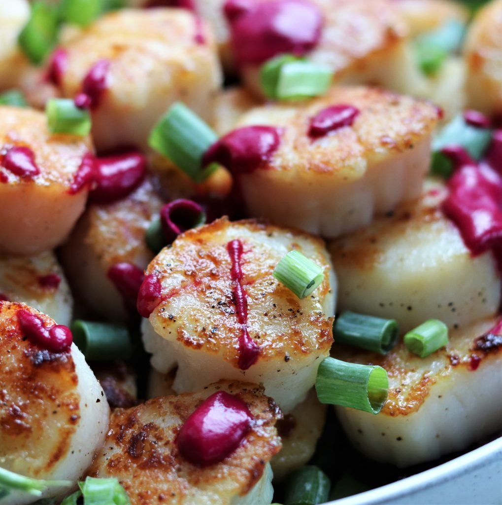 Seared Scallops w/ Roasted Beet Puree - giveitsomethyme.com – an easy and delicious recipe for perfectly seared scallops drizzled with a velvety puree of roasted beets! #searedscallops #searedscallopsrecipe #searedscallopshealthy #searedscallopscastiron #roastedbeets #roastedbeetsrecipe #searedscallopsdinner #scallopsrecipe #easyscallopsrecipe
