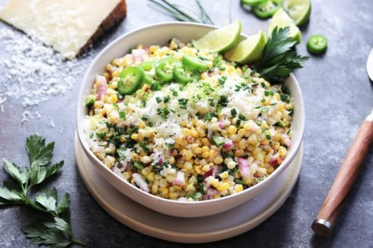 Grilled Corn with Manchego and Lime - a summer salad full of sweet n' smoky flavor! #grilledcorn #cornsalad #grilledcornsalad #summersalad #summerrecipe #sidesalads #sidedishes #giveitsomethyme | giveitsomethyme.com
