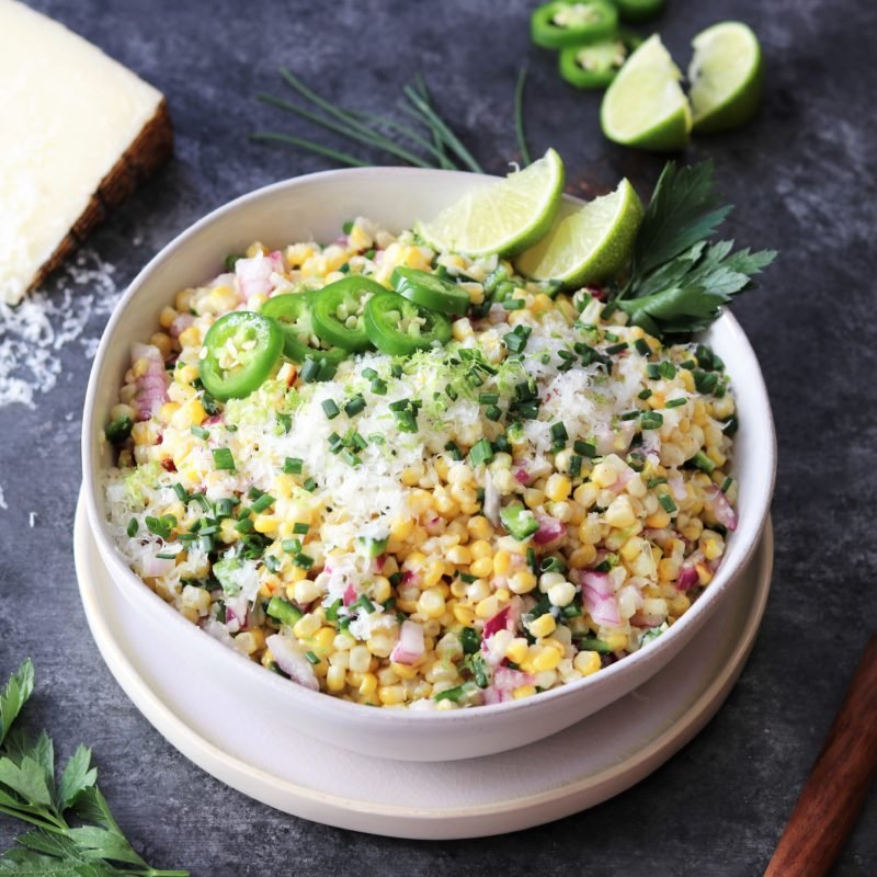 Grilled Corn w/ Manchego & Lime - a summer salad full of sweet n' smoky flavor! #grilledcorn #cornsalad #grilledcornsalad #summersalad #summerrecipe #sidesalads #sidedishes #giveitsomethyme | giveitsomethyme.com