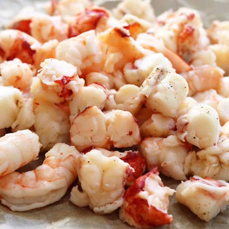 Lobster and shrimp cut into chunks