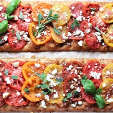 Heirloom Tomato & Goat Cheese Flatbread | Give it Some Thyme – an easy flatbread recipe showcasing beautiful tomatoes atop a crisp crust with sweet onion jam, crumbled goat cheese, and fresh herbs! #flatbread #flatbreadrecipes #flatbreadpizza #easyflatbread #healthyflatbread #heirloomtomatoes #heirloomtomatoesrecipes #appetizers #healthyappetizers #giveitsomethyme