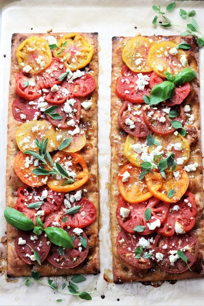Heirloom Tomato and Goat Cheese Flatbread | Give it Some Thyme