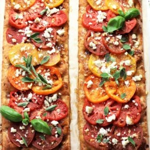 Heirloom Tomato & Goat Cheese Flatbread | Give it Some Thyme