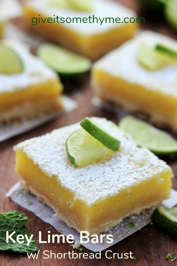 Key Lime Bars with Shortbread Crust | Give it Some Thyme - a refreshing, delicious and easy dessert recipe you can make ahead and is freezer friendly! #keylimebars #keylimerecipes #lemonbars #refreshingdesserts #easydesserts #shortbread #giveitsomethyme