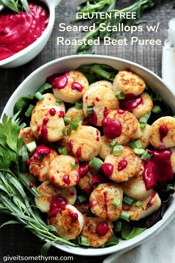 Seared Scallops with Roasted Beet Puree | Give it Some Thyme – an easy and delicious recipe for perfectly seared scallops drizzled with a velvety puree of roasted beets! #scallops #searedscallops #roastedbeets #skilletdinners #ketorecipes #glutenfree #quickandeasydinners #healthydinners #giveitsomethyme