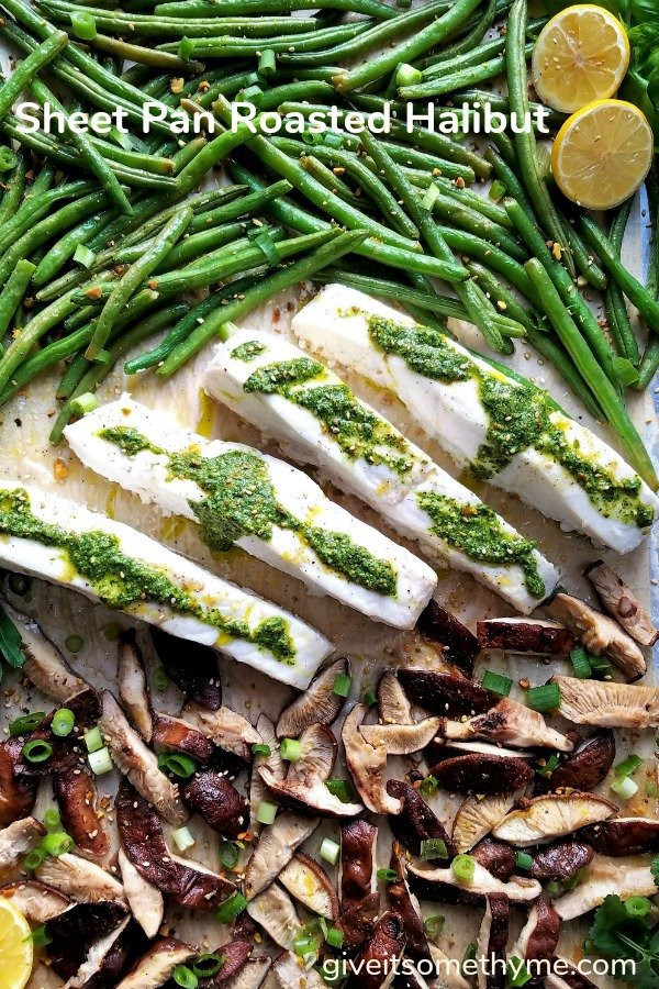 Sheet Pan Roasted Halibut | Give it Some Thyme - a delicious sheet pan recipe of fresh halibut combined with green beans and shiitake mushrooms then coated in a cilantro pesto! #halibutrecipes #halibut  #sheetpanrecipes #30minutemeals #quickandeasydinners #fishdinners #healthyfallrecipes #weeknightdinnerrecipes #ketorecipes #giveitsomethyme