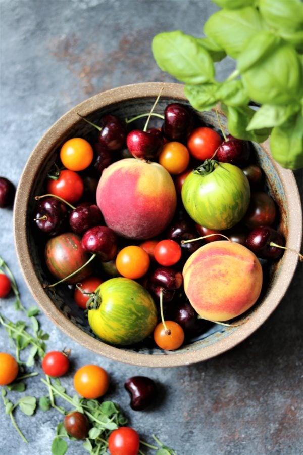 Stone Fruit, Tomatoes, and Basil