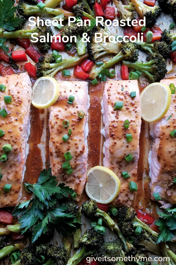 Sheet Pan Roasted Salmon & Broccoli | Give it Some Thyme - tender salmon fillets coated in a tangy, soy-mustard glaze and perfectly caramelized veggies are on the table in 35 minutes start to finish! #salmon #salmonrecipes #sheetpanrecipe #roastedsalmon #quickandeasydinner #sheetpandinners #bakedsalmon #salmonhealthy #giveitsomethyme