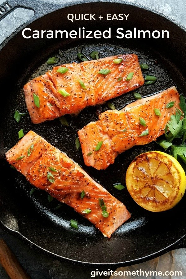 Caramelized Salmon – a 5-ingredient rub makes a sweet crust encasing the delicate fillet and cooks in just minutes! #quickandeasydinners #caramelizedsalmon #salmonrecipes #easysalmonrecipes #fishdinners #healthydinners #skilletrecipes #glutenfreerecipes #ketorecipes #giveitsomethyme | giveitsomethyme.com