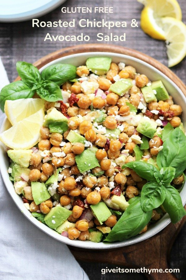 Roasted Chickpea Salad with Avocado and Feta - a delicious vegetarian and gluten free salad that's ready in 30 minutes! #roastedchickpeasalad #roastedchickpeasaladhealthy #chickpeaandavocado #chickpeaandavocadosalad #vegetarianandglutenfree #giveitsomethyme | giveitsomethyme.com