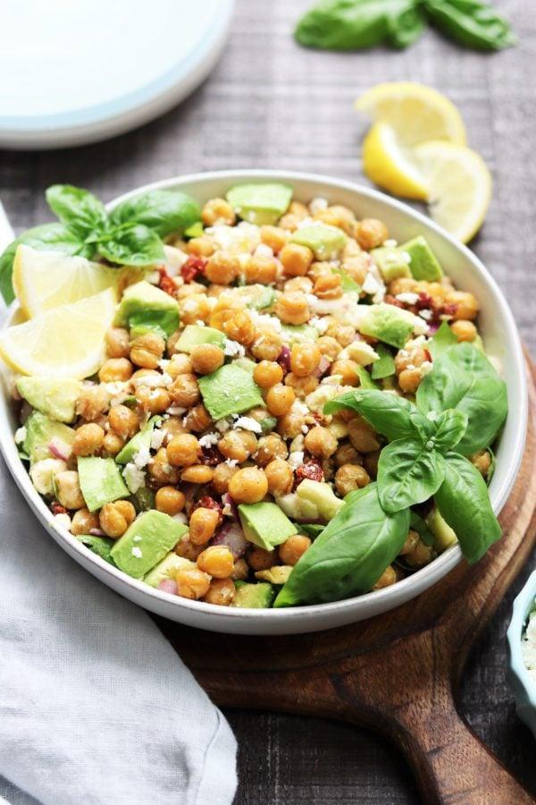 Close up of Chickpea Salad with Avocado & Feta