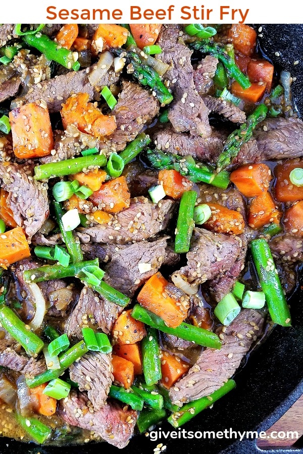 Sesame Beef Stir Fry with Asparagus & Sweet Potato | Give it Some Thyme – jazz up busy weeknights with this quick and easy stir fry recipe of tender beef, asparagus and sweet potatoes coated in a tangy, garlicky hoisin sauce and on the table in 30 minutes! #stirfry #stirfryrecipes #asianrecipes #giveitsomethyme #sesamebeefstirfry #sesamebeefstirfryrecipes #beefstirfry #beefstirfryeasy #beefstirfryrecipes #quickandeasydinner #quickandeasydinnerrecipes #healthyfallrecipes