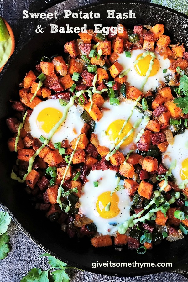 Sweet Potato Hash with Baked Eggs & Avocado Cilantro Crema | Give it Some Thyme - breakfast, lunch, or dinner, this gluten-free Sweet Potato Hash with Baked Eggs and Avocado Cilantro Crema is a hearty, delicious meal anytime! #sweetpotatohash #sweetpotatohashhealthy #sweetpotatohashwhole30 #sweetpotatohashwitheggs #sweetpotatohashskillet #breakfastrecipe #sweetpotatorecipe #skilletrecipe #giveitsomethyme #sweetpotatoesandeggs #sweetpotatoesandeggsrecipes #sweetpotatoesandeggsbreakfast