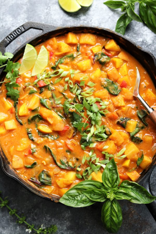 Thai Butternut Squash & Pumpkin Curry | Give it Some Thyme – a rich, spicy and comforting vegan Thai curry recipe that's quick & easy and uses just one skillet! #thaicurry #redthaicurry #thaicurryrecipes #thaicurryvegan #giveitsomethyme #thaibutternutsquash #thaibutternutsquashcurry #thaibutternutsquashredcurry #thaivegancurry #thaipumpkincurry #thaipumpkincurryvegan #butternutsquashandpumpkinrecipes #healthyfalldinnerrecipes